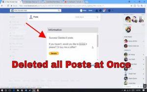 حذف کردن یکجای پست های فیسبوک